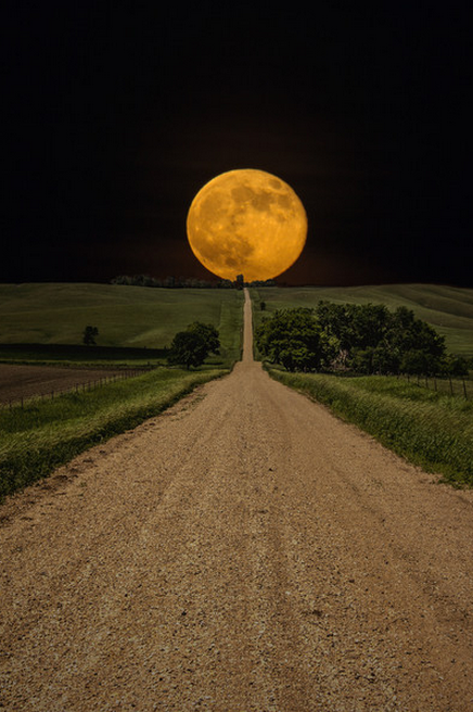 Image result for autumn's bright moon on the horizon above a country road