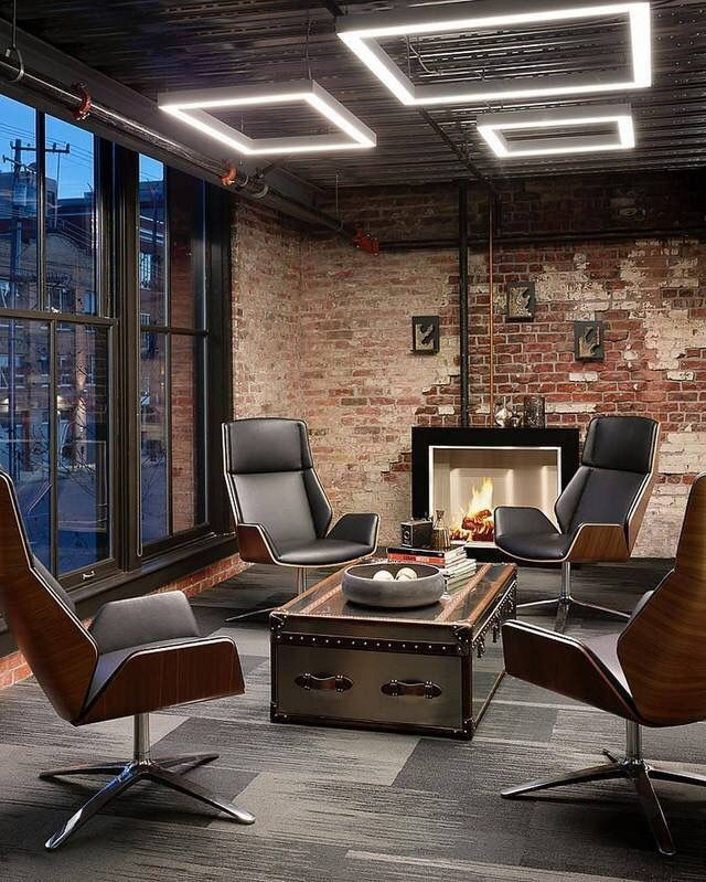 Smear Brick Modern Office Interiors Industrial Office Design