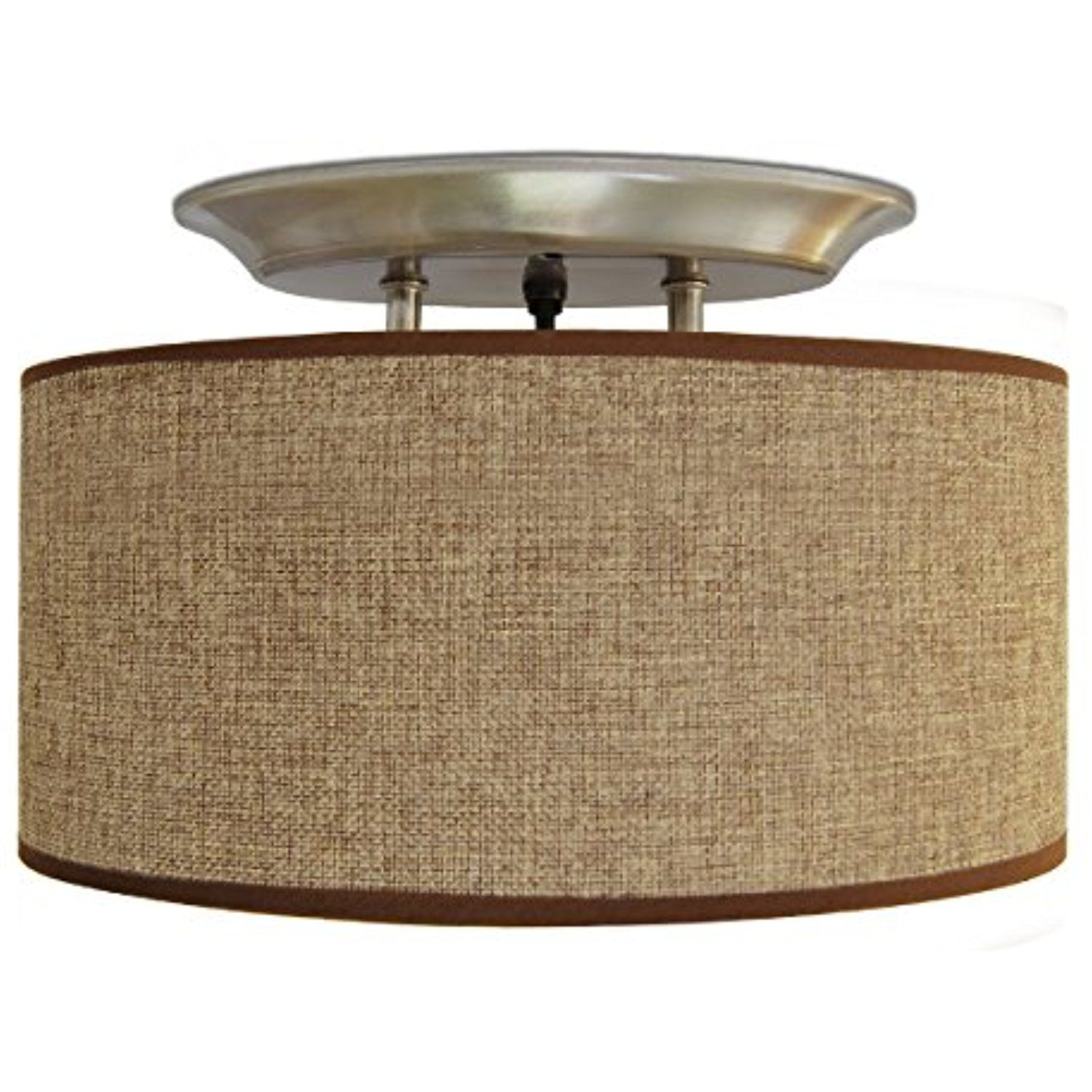Dream Lighting 12V Fabric Light Fixture with Brown Burlap Elliptical ...