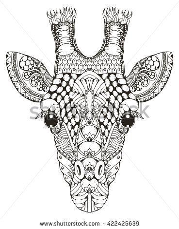 Giraffe head zentangle stylized