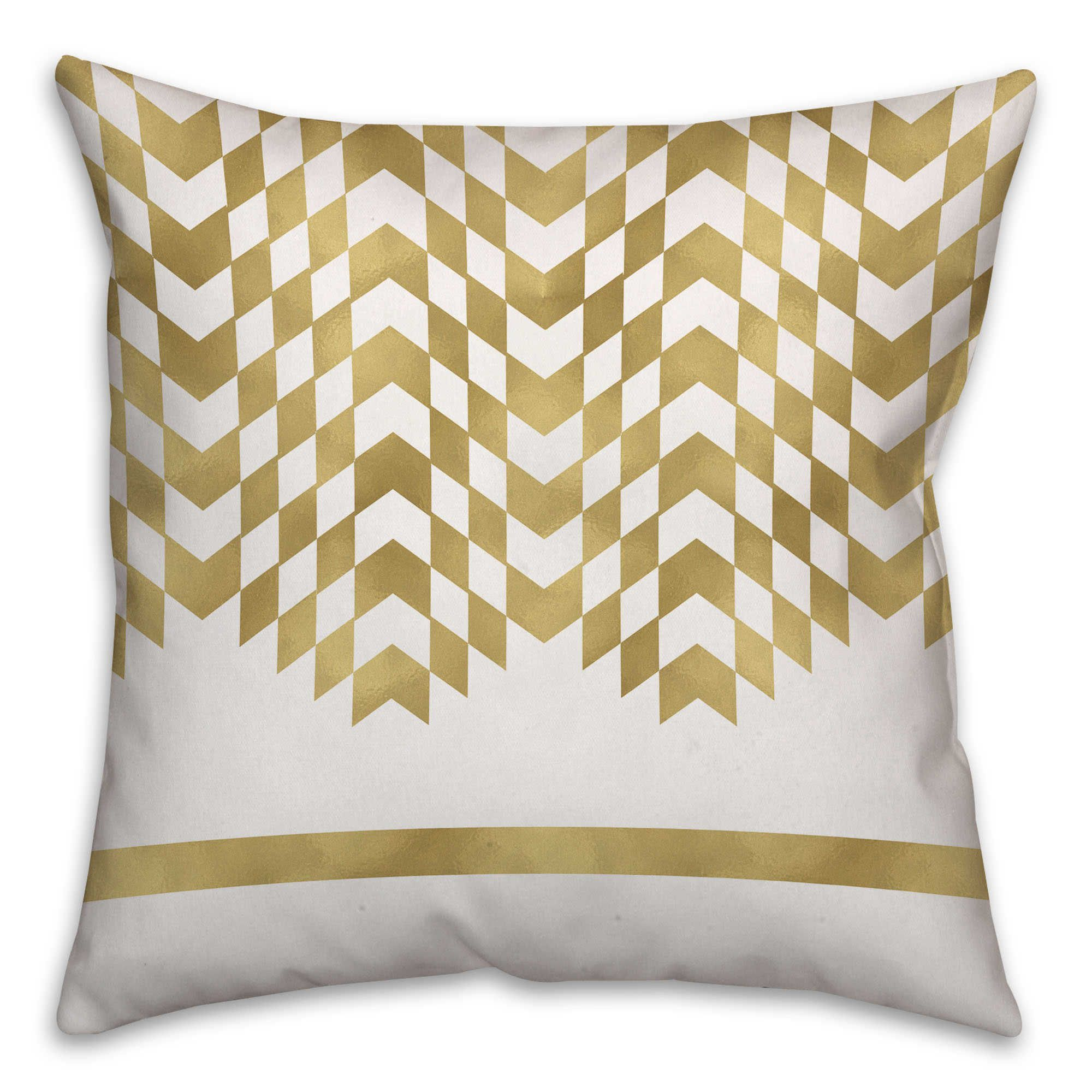 Alternating chevron square throw pillow in creamgold