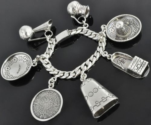 Castelan Mexico Vtg Sterling Silver Multi Charm 3D Hat Jug Medal Bracelet Heavy