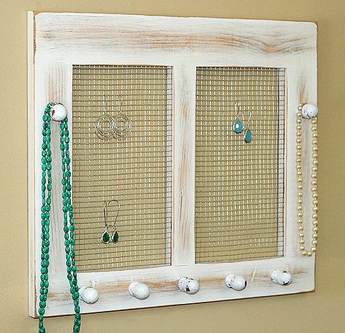 Earring Holder Organizer Shabby Chic Cottage Jewelry Holder Framed
