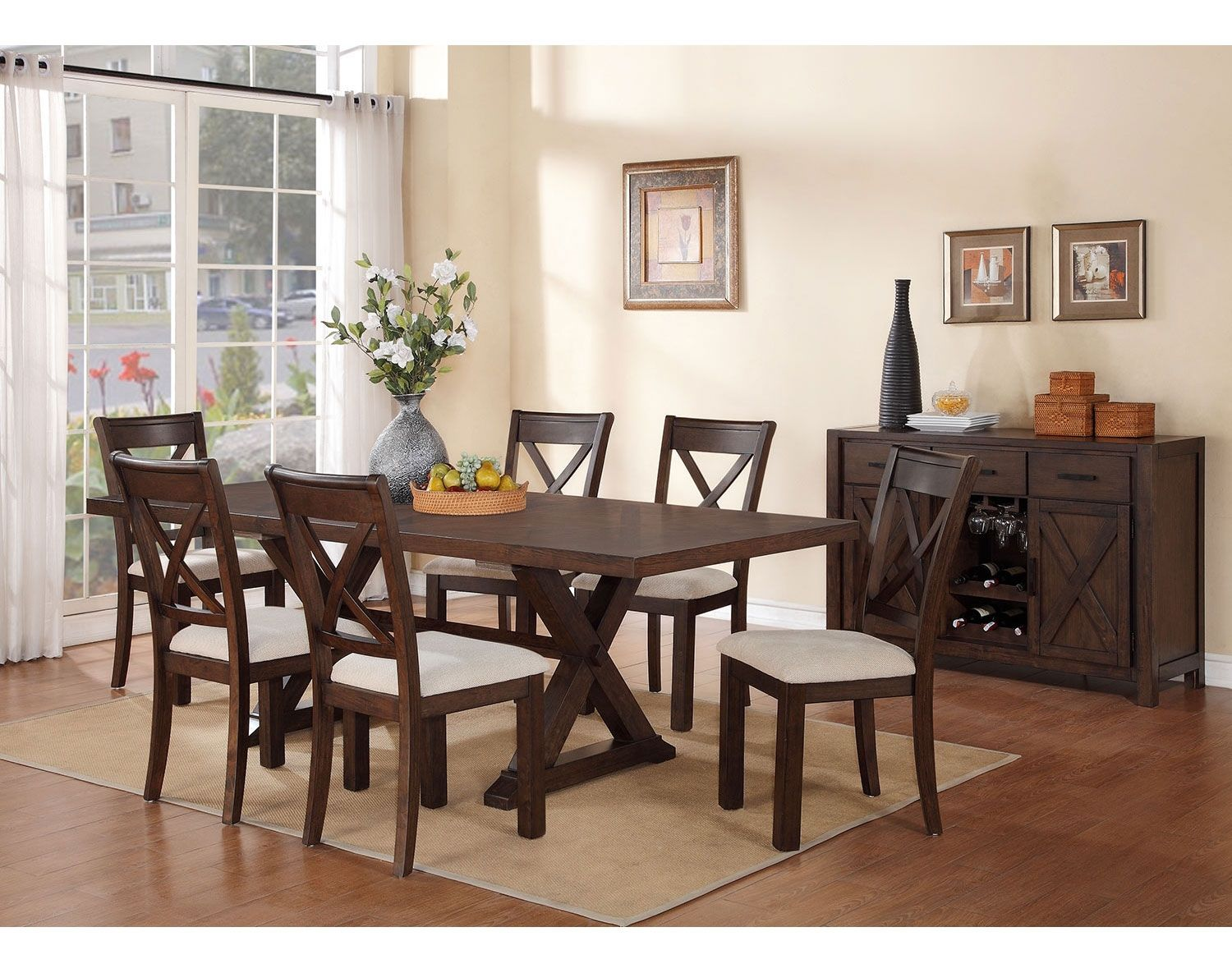 Strange Claira 7 Piece Dining Room Set Rustic Brown Home Sweet Dailytribune Chair Design For Home Dailytribuneorg