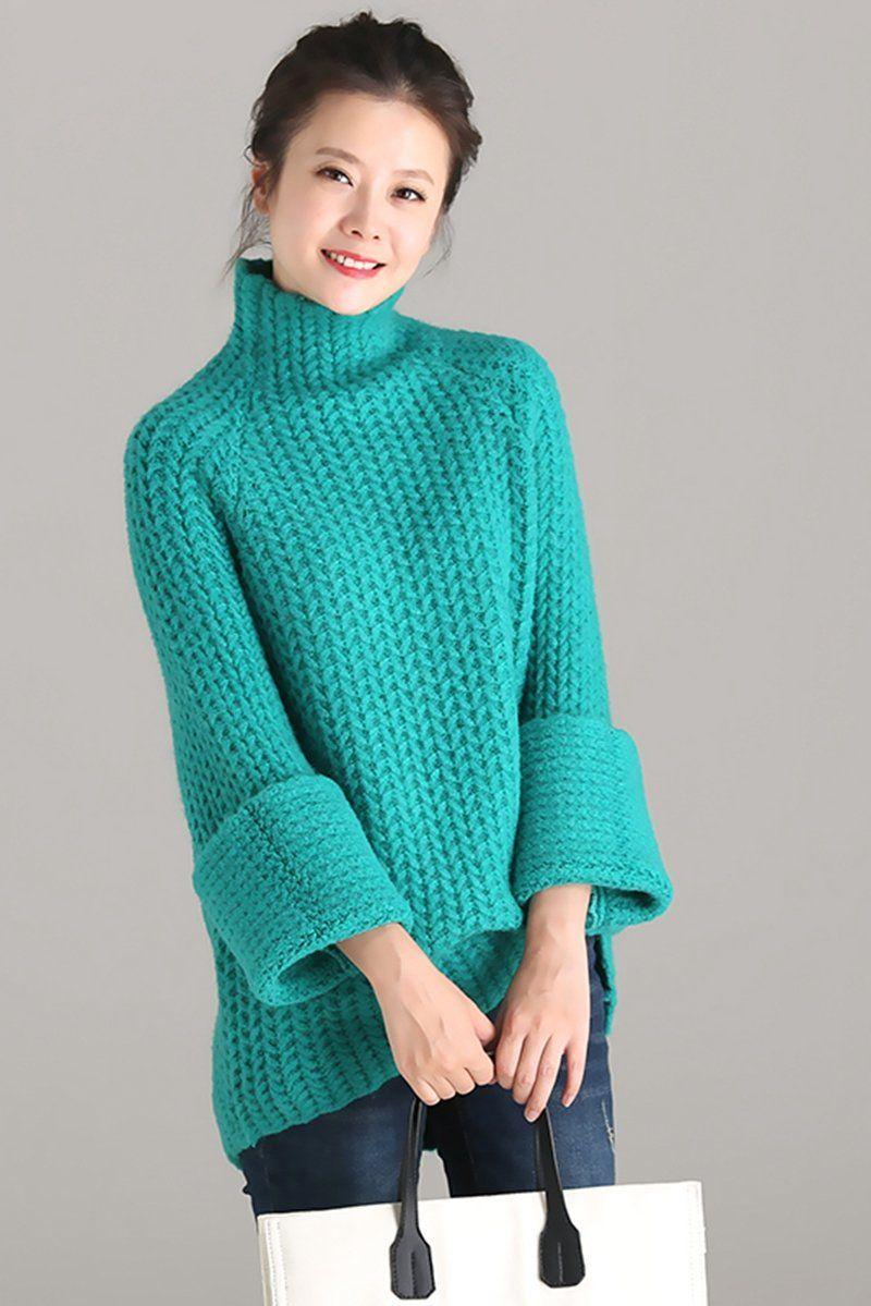 Cute Green High Neck Thicken Sweater
