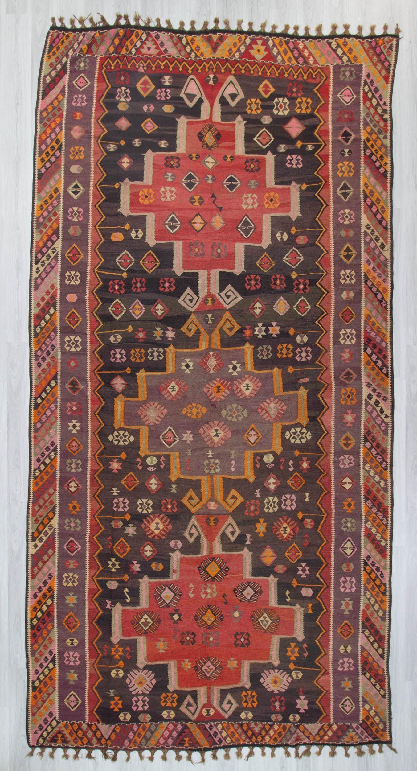 Handwoven vintage decorative oversize turkish kilim rug in
