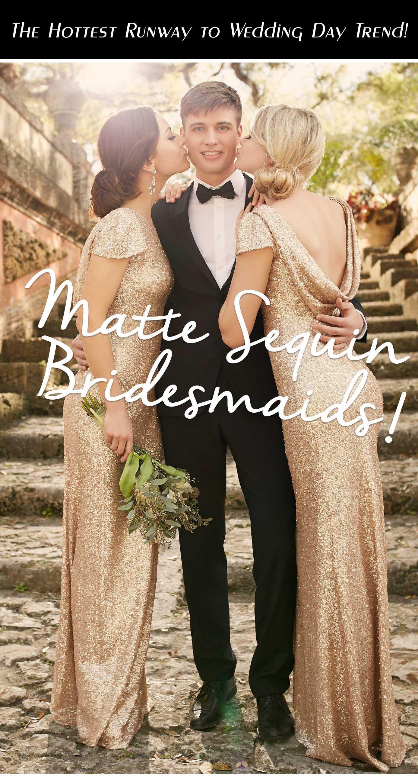 Matte Sequin Bridesmaids Trending Bridal Party Sparkly Cap Sleeve Bridesmaid