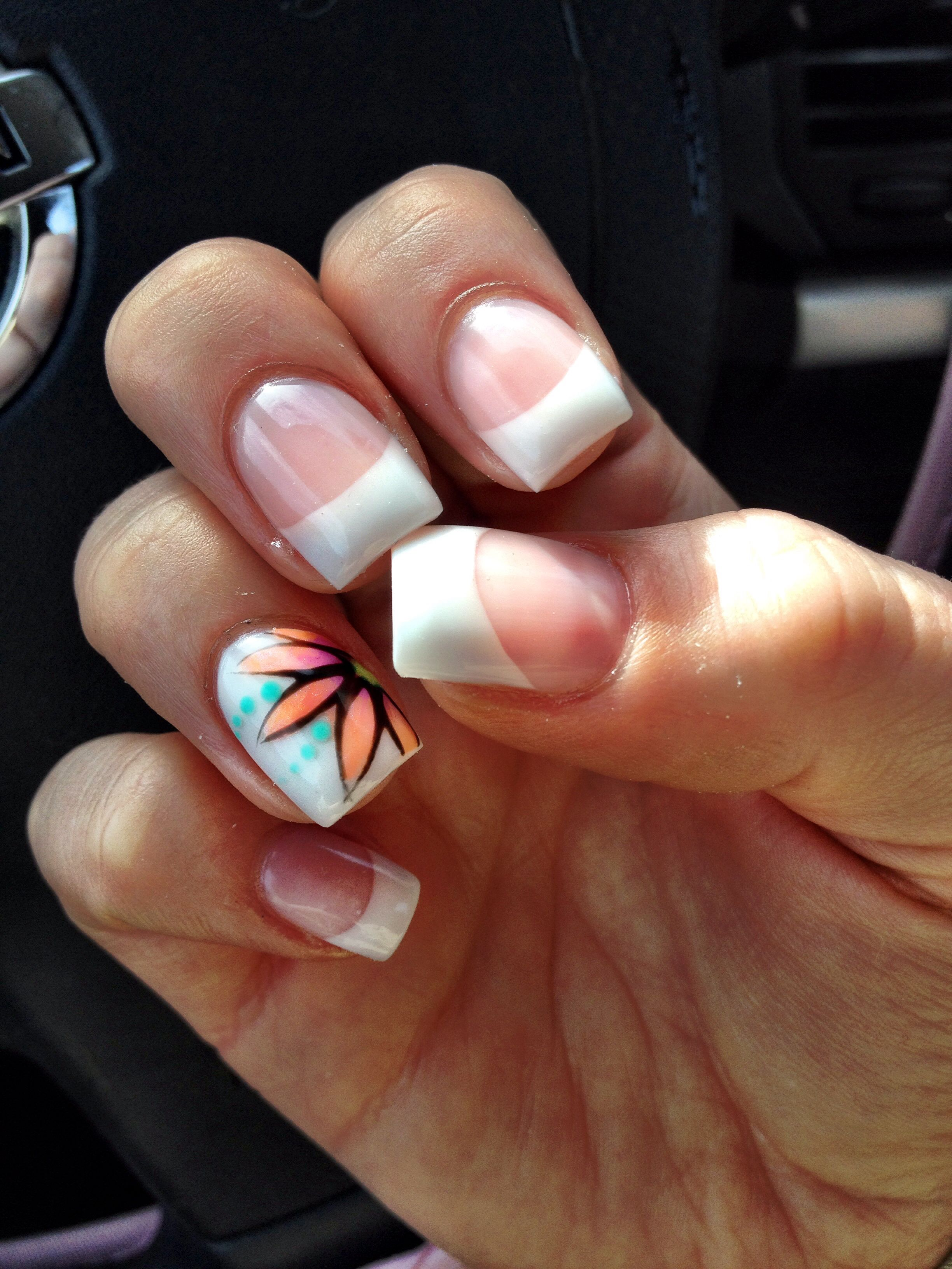 French Tip Gel Nails   Flower art, Flower and Makeup