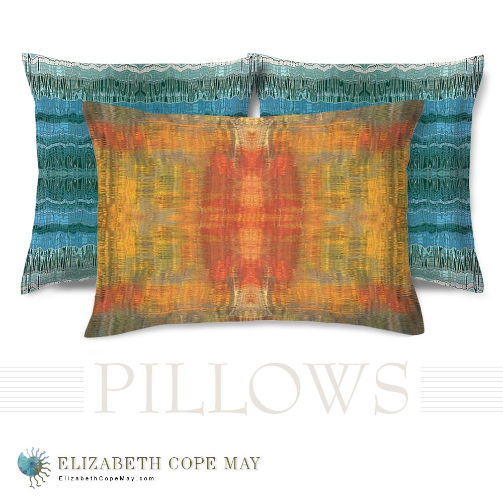 The warm opulent colors (red, orange, teal, yellow, and peach) of our Gemstone pillowpairs nicely with the cool, ocean blues of our Seascape pillows.  Discover more throw pillows and pillow sizes at ElizabethCopeMay.com.