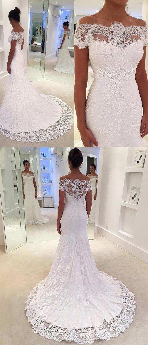 Mermaid Wedding Dresses Romantic Short Sleeve Sweep Train Lace White Bridal Gown Jkw336 Lace Mermaid Wedding Dress Cape Wedding Dress Cheap Wedding Dress [ 1392 x 598 Pixel ]