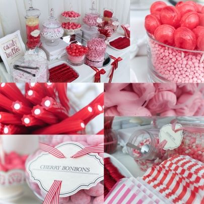 Red & Pink desert table ideas for girls vintage party