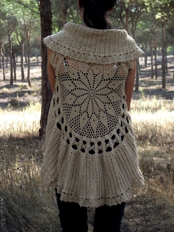 Knitting Pattern Circle Jacket : Crochet Circular Vest Pattern PDF Instant por MadMaxArtistic Crochet and kn...