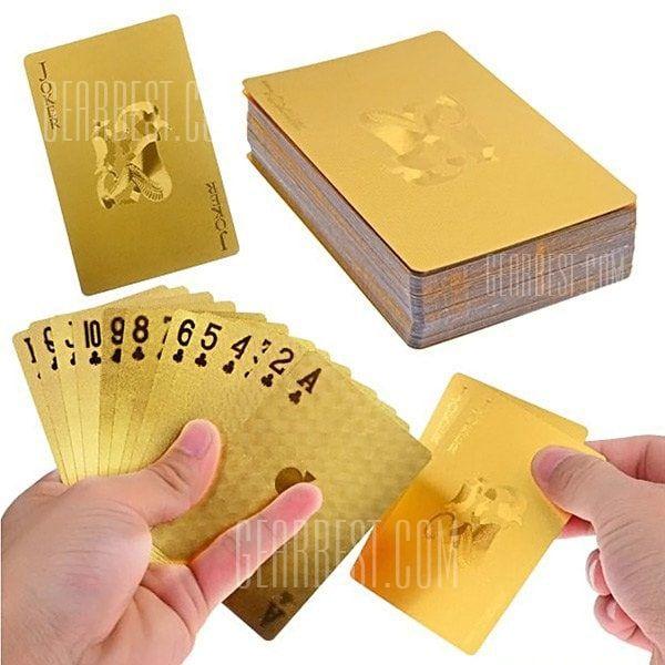 လက်ဆောင်သည်ကဒ်များဘုတ်အဖွဲ့အားကစားပြိုင်ပွဲငွေကောက်ခံ Playing 54pcs မူရင်း waterproof ဇိမ်ခံကား 24K ရွှေသတ္တုပန်းကန် Poker ပရီမီယံ Matte ပလတ်စတစ်