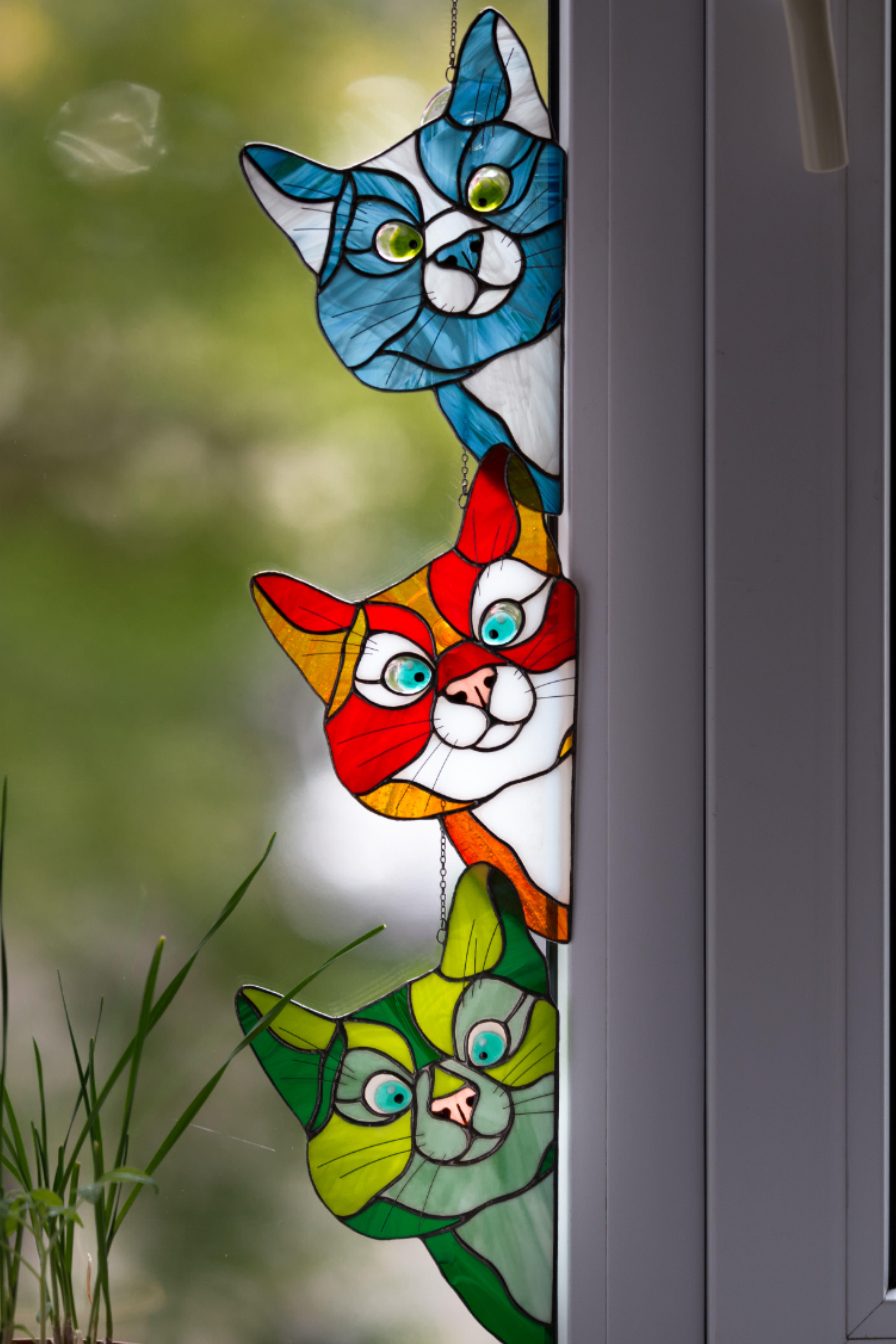 Peeking cat stained glass window hangings longdistance