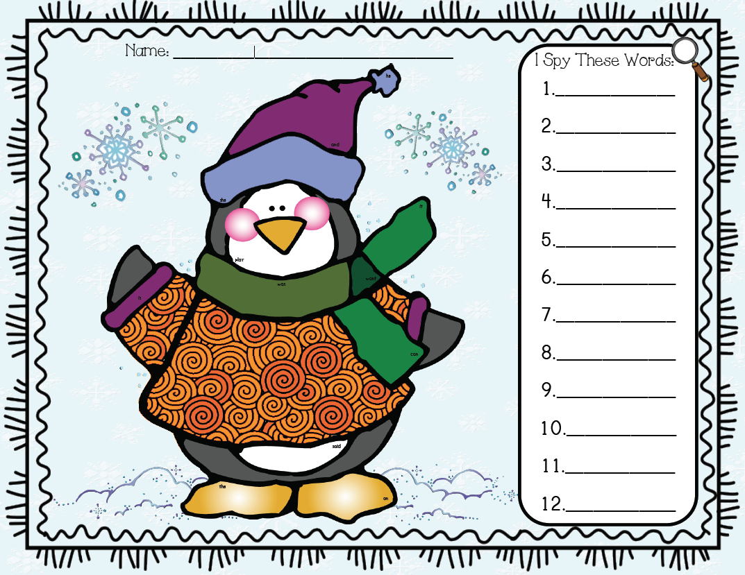 I Spy Sight Words On A Penguin Freebie