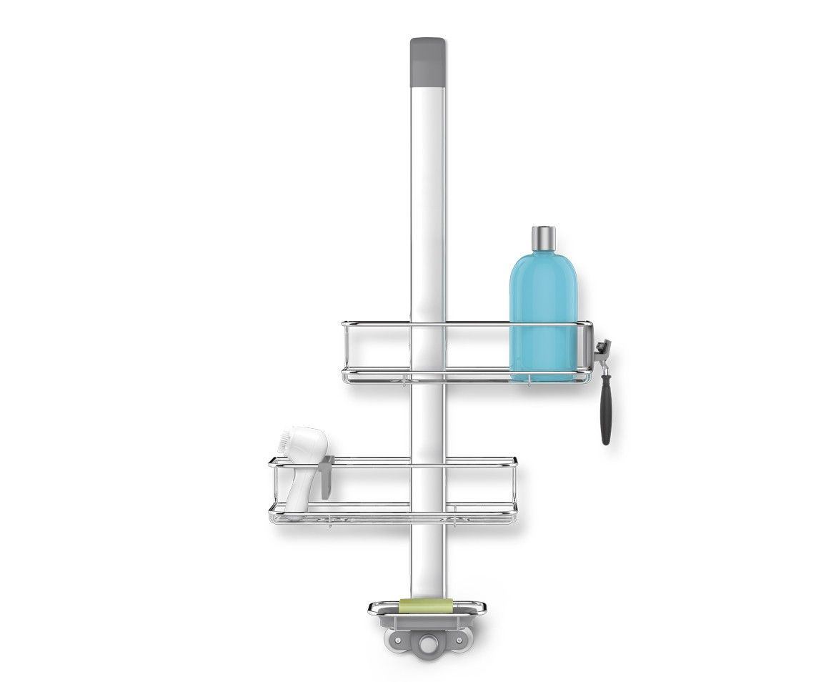 Simplehuman Over Door Shower Caddy Hooks Over The Shower Door And  Automatically Tightens For A Secure Grip. It Has Fully Adjustable Shelves  That Are Easy To ...
