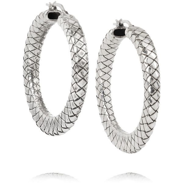 Bottega Veneta Antique Silver Drop Hoop Earrings Wbmsu