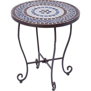Tremiti Wrought Iron 20 Inch Round Ceramic Mosaic Outdoor Tile Top And Base Side Table Free Shipping Today 20969058 Mobile