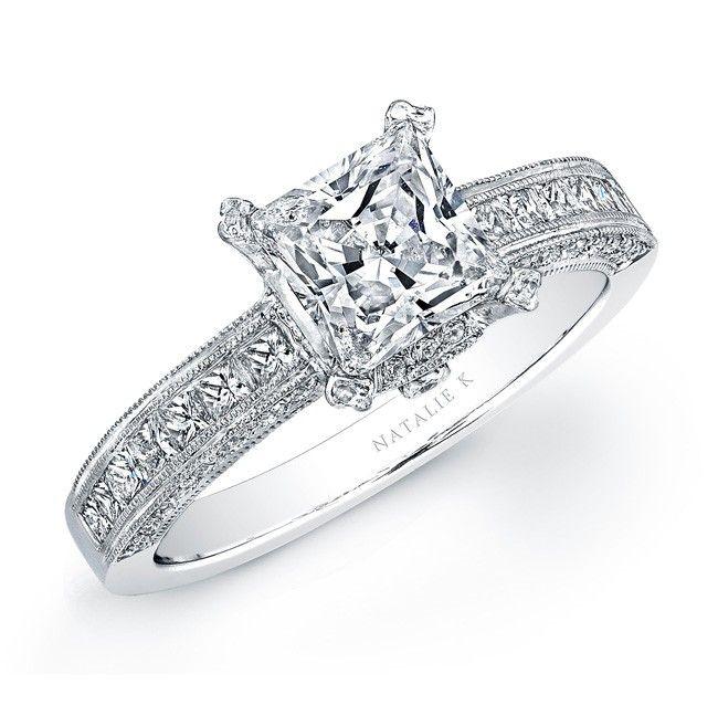 NK14994W 14k White Gold Princess Cut Diamond Engagement Semi