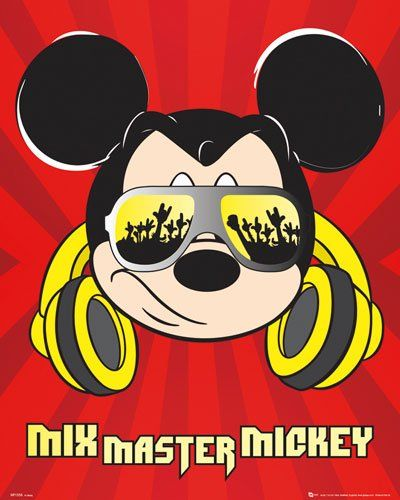 poster dj micky maus mixmaster disney mickey mouse diskjockey musik kopfh rer gr e 40 x 50. Black Bedroom Furniture Sets. Home Design Ideas