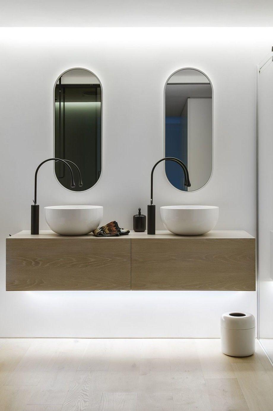 Quality vanity units bathroom - Bathroom Floating Wood Bathroom Vanity Unit Two Modern Sink With Single Handle Bronze Vessel Faucet