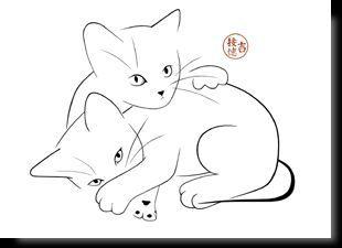 Katzenartige KunstPostkarten