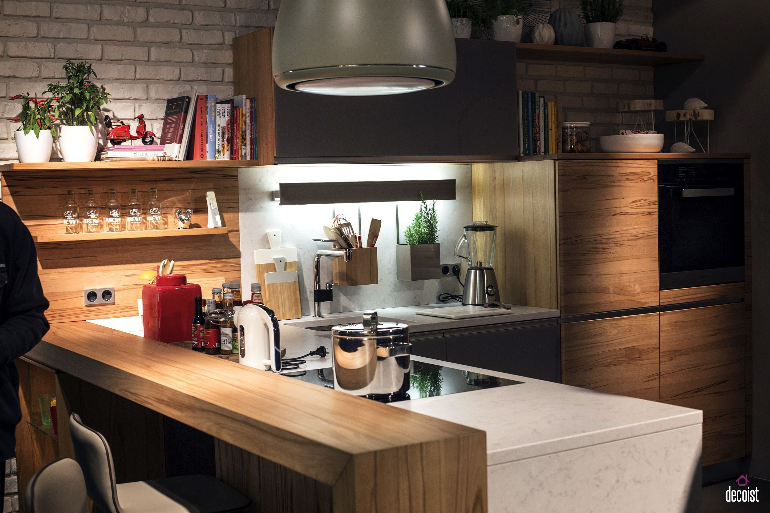 Wooden Breakfast Bar Seems Like A Visual Extension Of The Kitchen Shelves And The Worktop Freestanding Kitchen Island Breakfast Bar Kitchen Kitchen Bar