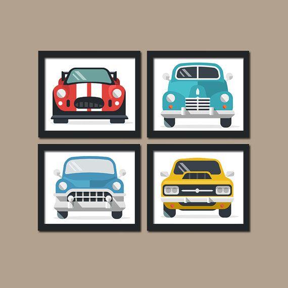 Classic CARS Wall Art, Baby Boy Nursery Art, Retro Cars, Vintage ...
