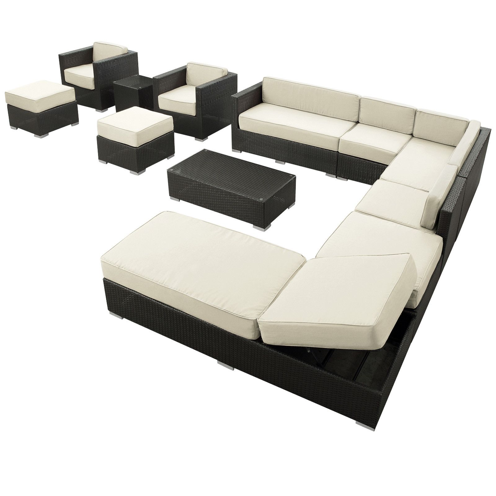 12 Piece Neil Patio Sectional Seating Group Brown
