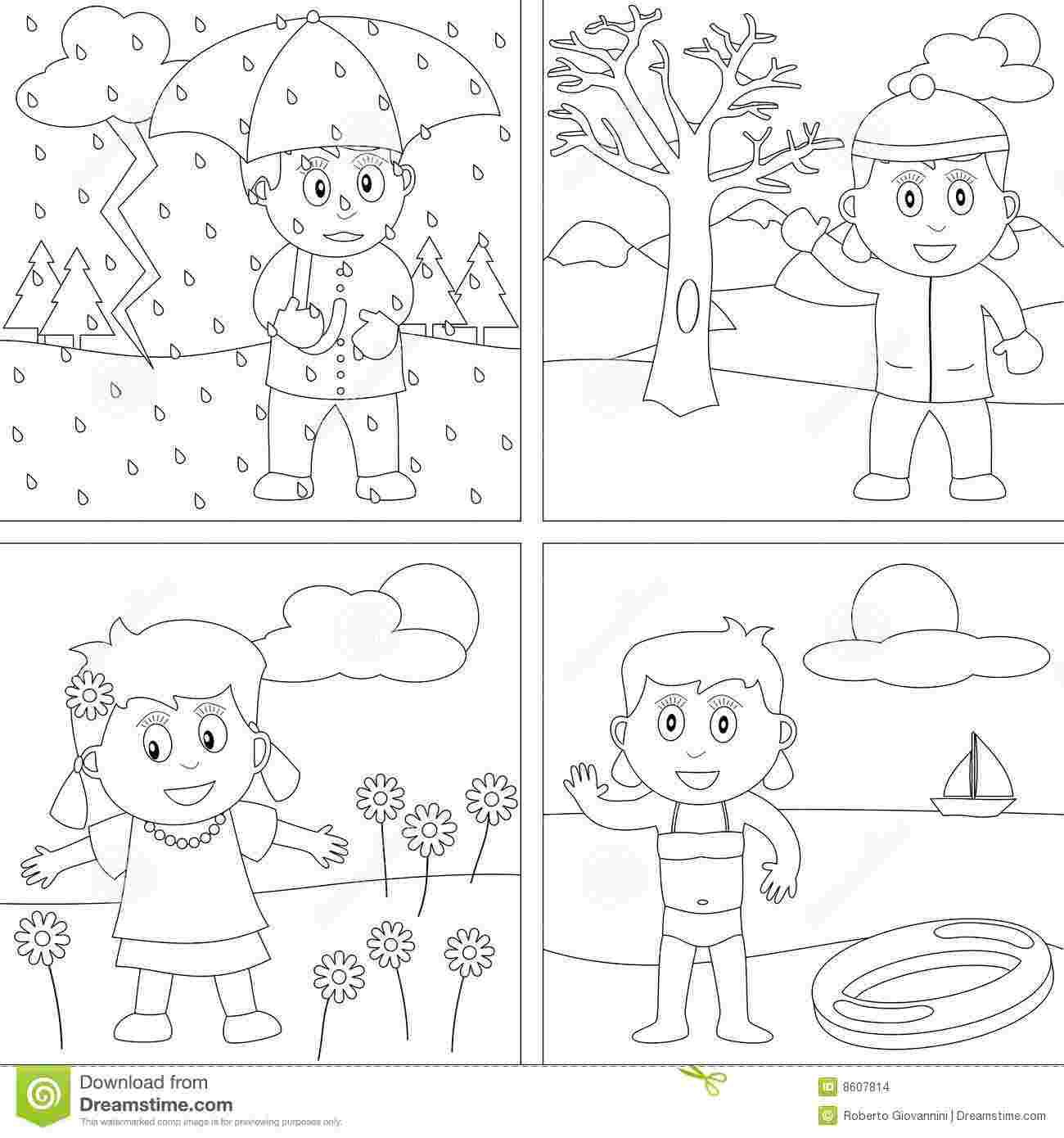 Four Seasons Coloring Pages Free In