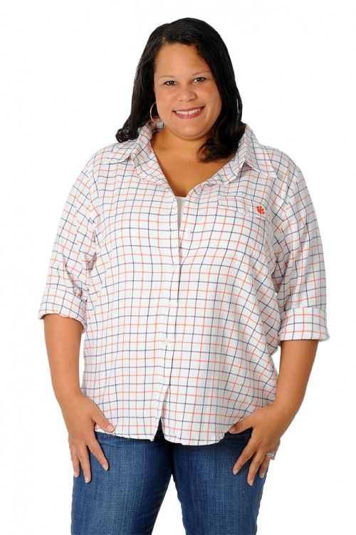 c03a56c80 Try UG Apparel's orange and purple woven plaid shirt! Available in missy  and plus size!- University Girls Apparel
