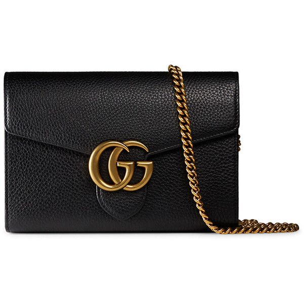 ce3b67f65f1127 Gucci Interlocking GG Marmont Leather Wallet-on-Chain (€1.335) ❤ liked on  Polyvore featuring bags, wallets, black, real leather wallet, credit card  holder ...