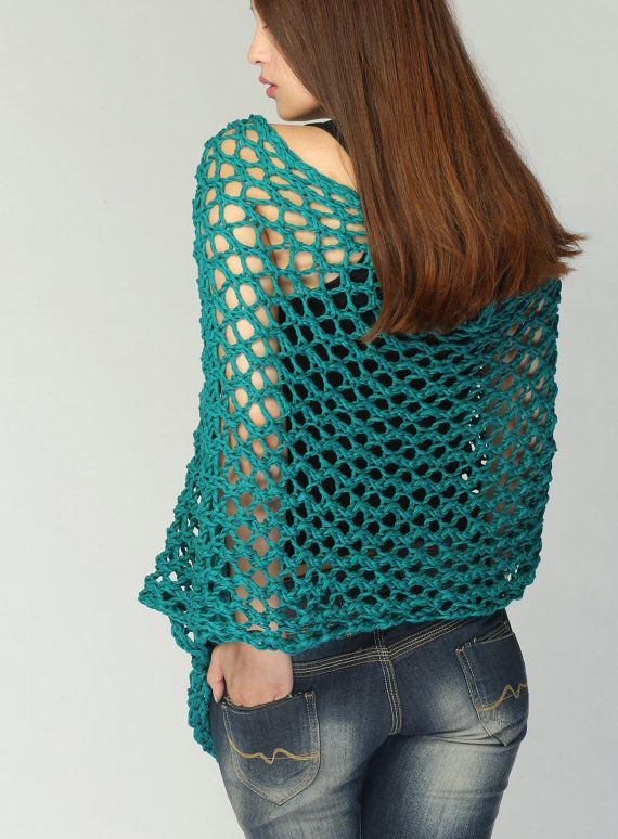 Hand knit Little cotton poncho knit scarf knit shrug in Emerald ...