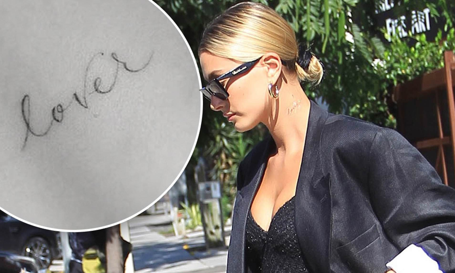 Hailey Baldwin debuts new 'Lover' tattoo on her neck ahead of first anniversary to