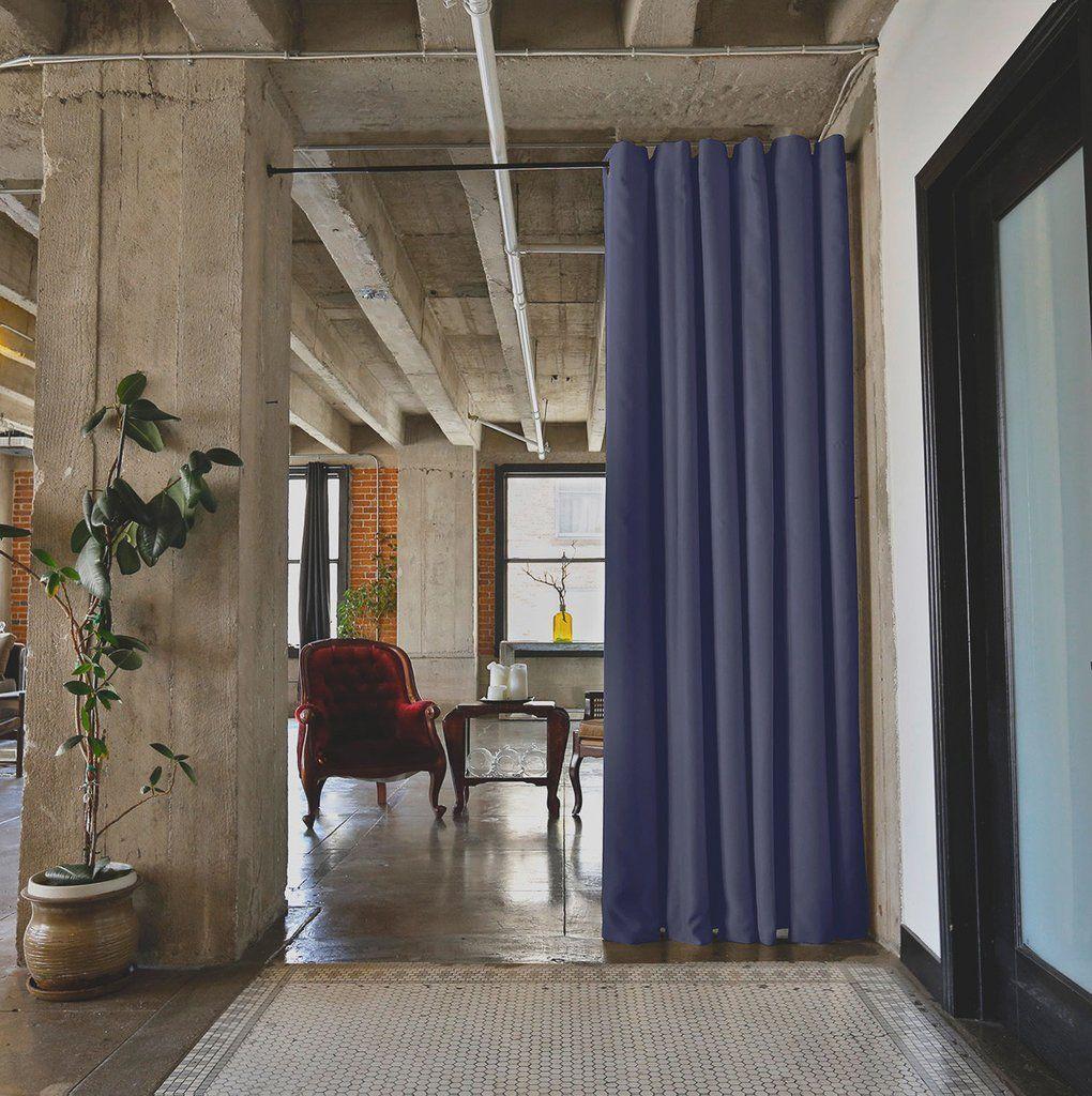 Black Tension Rod Room Divider Curtain 1 Room Divider Curtain