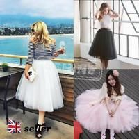 Women Girls 6 Layer Tulle Skirt Adult Net Petticoat Tutu Ball Gown Skater Skirts
