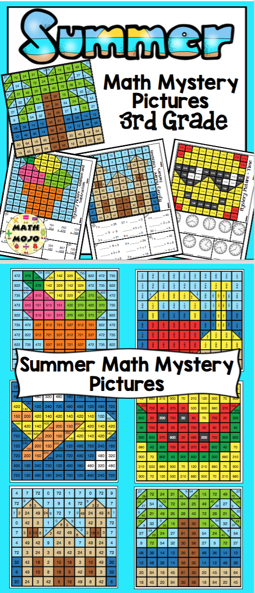 3rd Grade Summer Math 3rd Grade Math Mystery Pictures Math For
