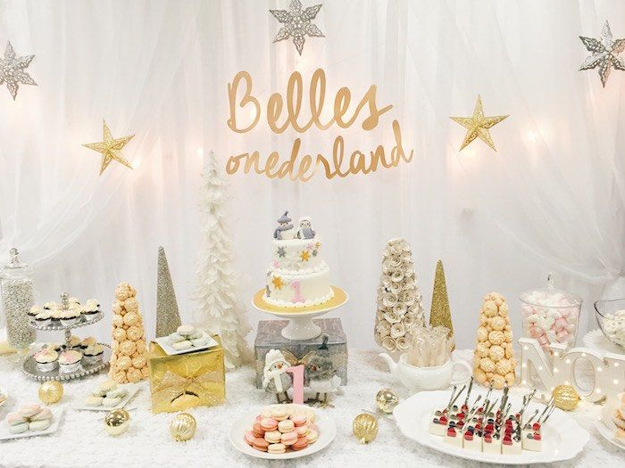 Silver And Gold Winter Onederland Birthday Party Kara S Party Ideas Onederland Birthday Party Winter Onederland Birthday Winter Onederland Birthday Party