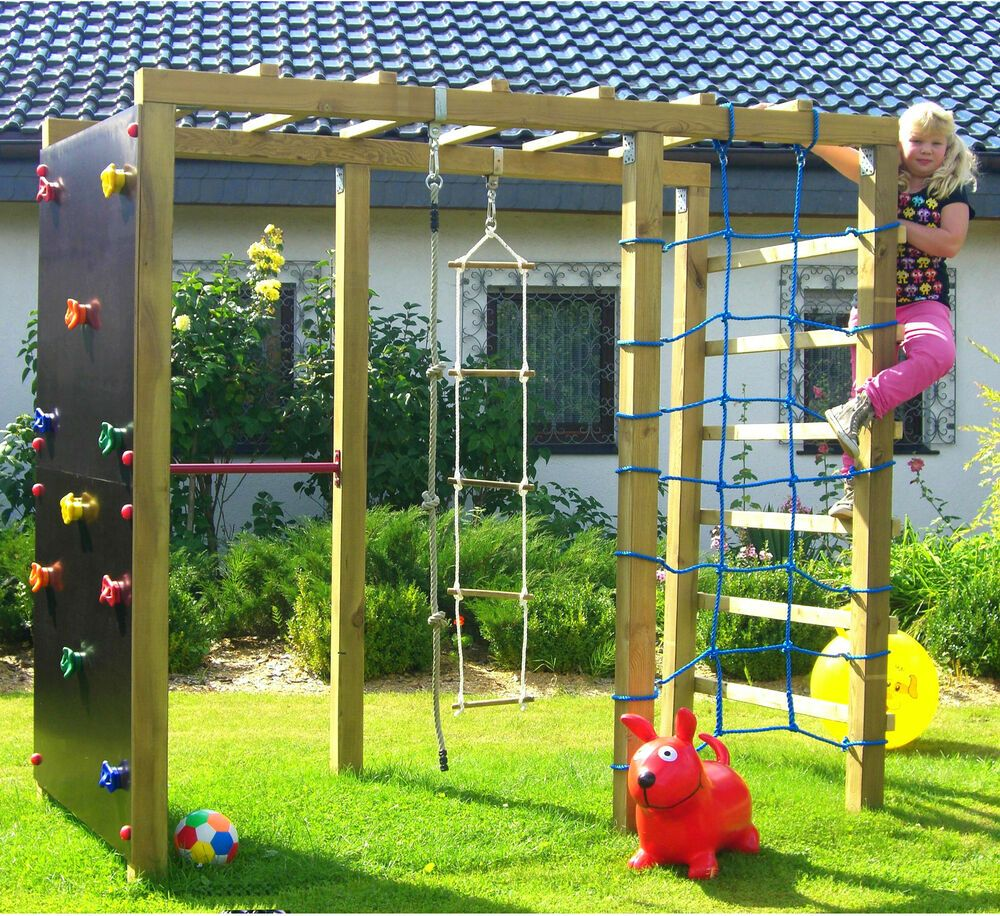 Xxl Klettergerust 2 4m Kletterturm Spielturm Mit Kletternetz Reckstange Leiter Ebay Play Area Backyard Backyard Play Backyard For Kids