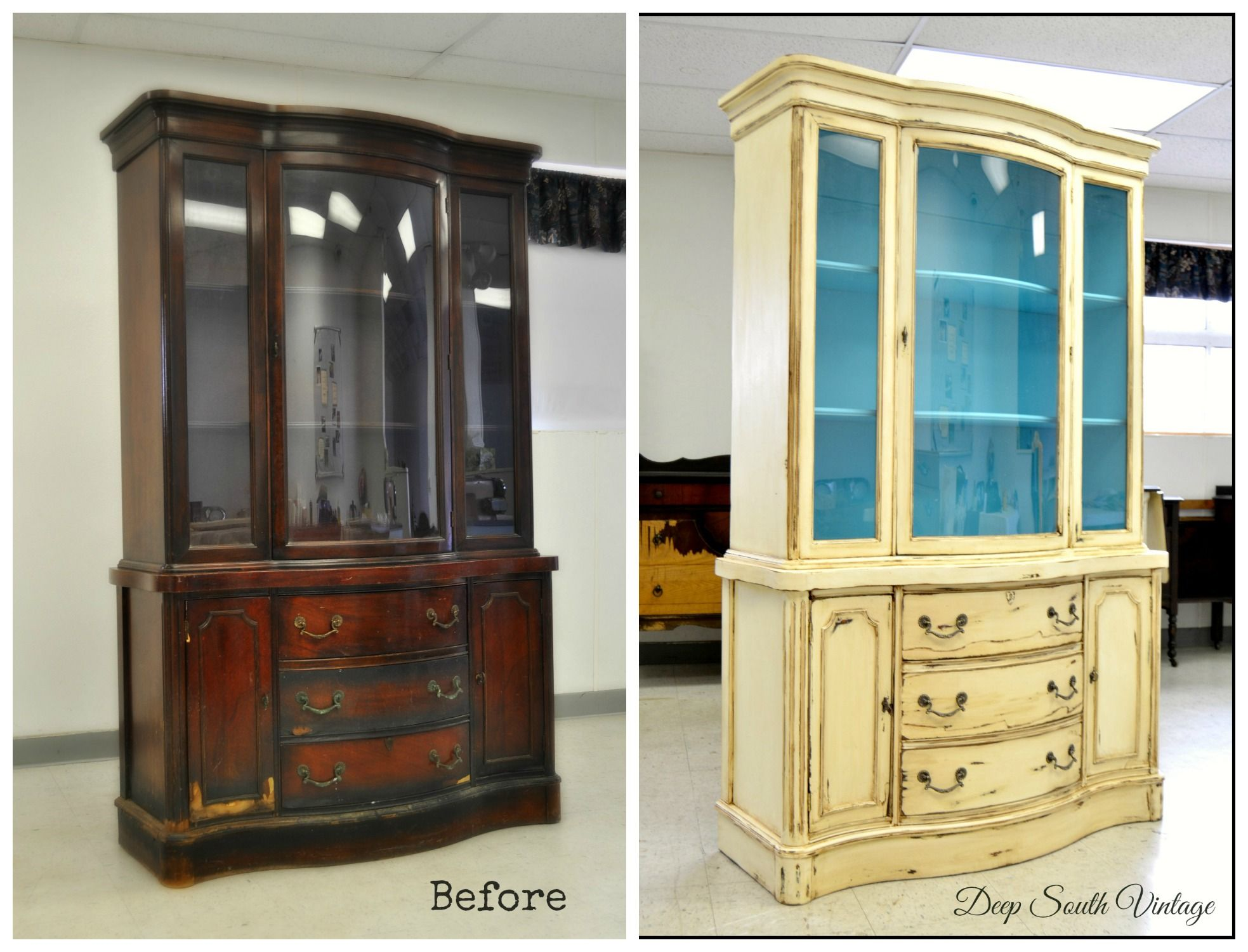 Before And After Vintage Bow Front Drexel China Cabinet Painted