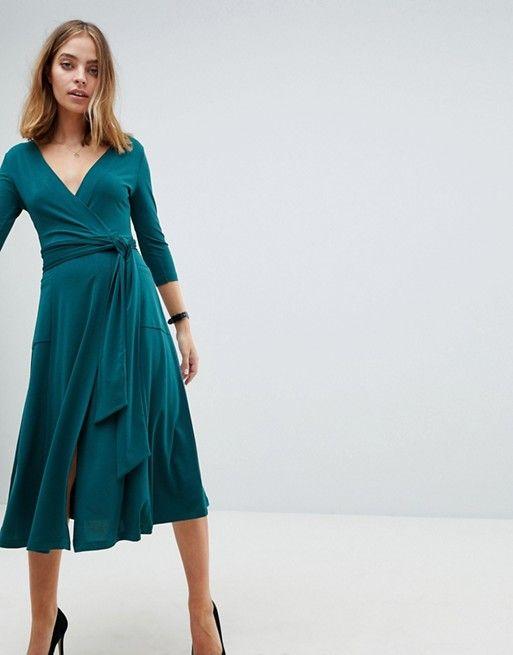 da55c0d7b574 PETITE Crepe Wrap Midi Dress   Fashion Sense - Business   Petite ...
