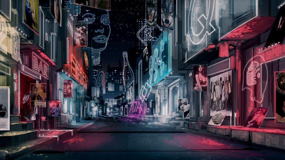 City Street Night By Biz02 On Deviantart Futuristic City Anime City City Streets