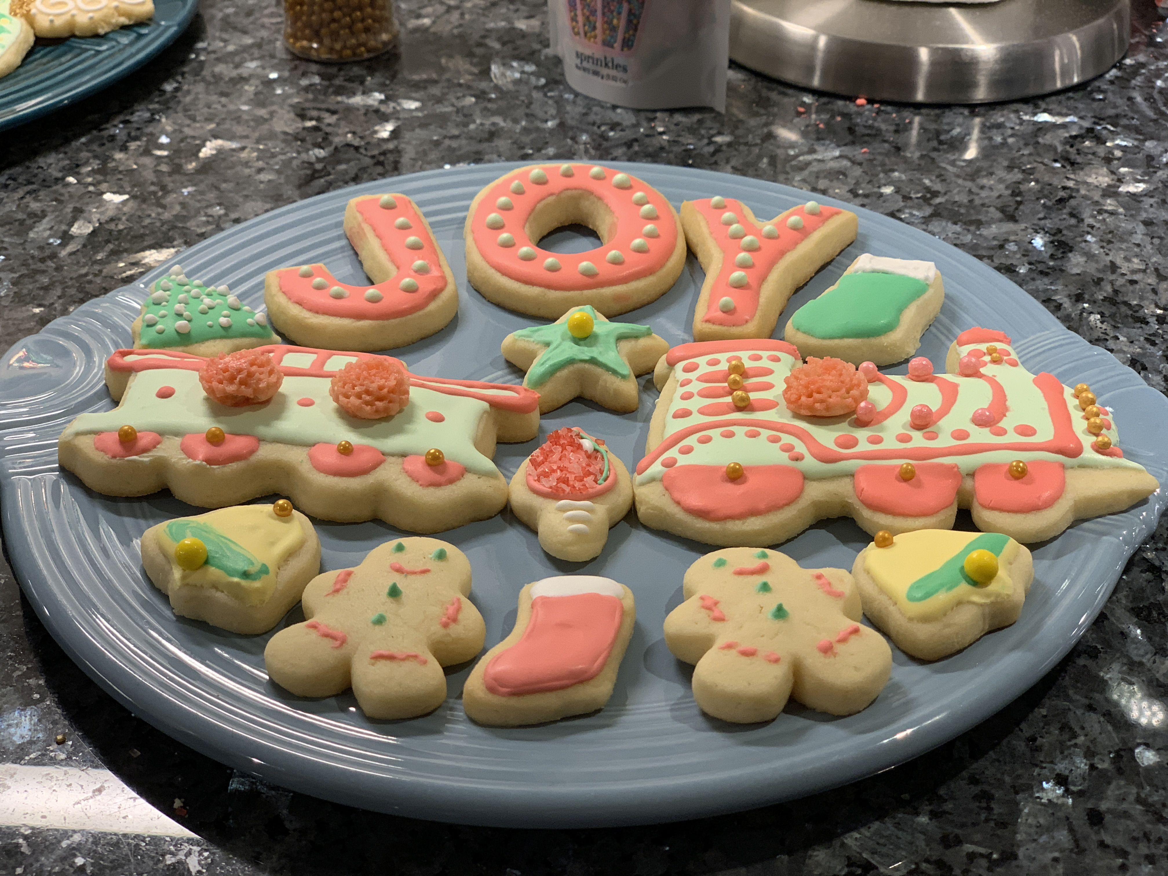 Christmas Cookie Platter In Pink And Green Train Joy Cookies