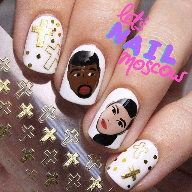 KimKardashian & #KanyeWest #nails ✨handpainted with nail polishes ...
