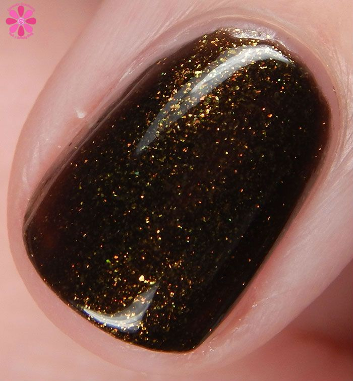 Smokey Mountain Lacquers AHS Inspired Halloween 2015 Collection Swatches & Review | Cosmetic Sanctuary / Lounge Singer is a black cream with a ton of gold shimmer.