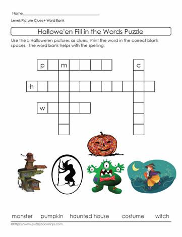 Easy Halloween Crossword Puzzle With Picture Clues And Word Bank Great For ELLs