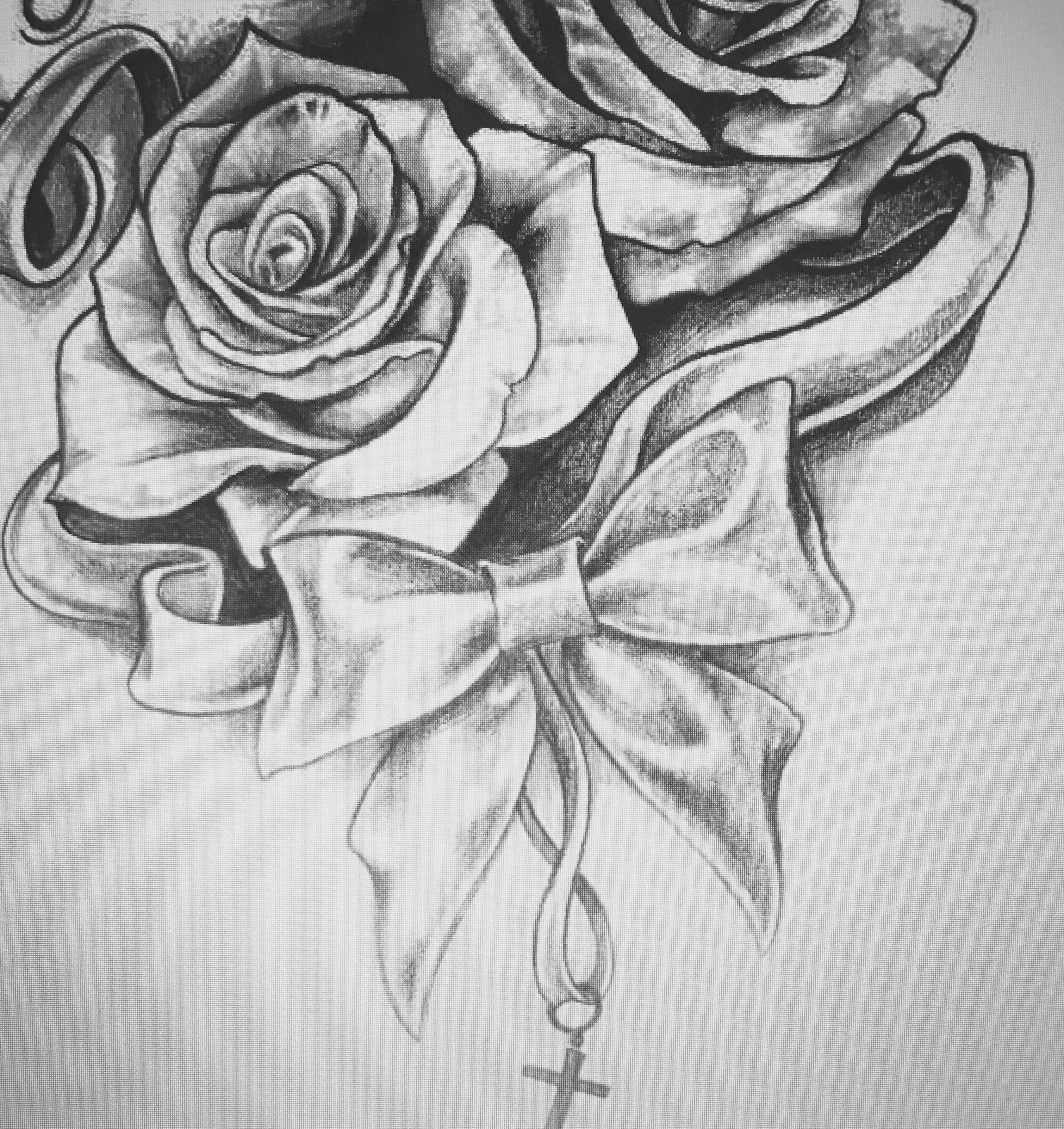 roses bow with cross tattoos and body art