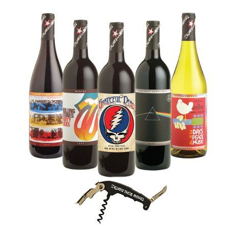 If he likes #wine - he'll love this great collection of #Rock oriented Wines inspired by the coolest in rock #music - everything from Woodstock Chardonnay to Rolling Stones Forty Licks Merlot