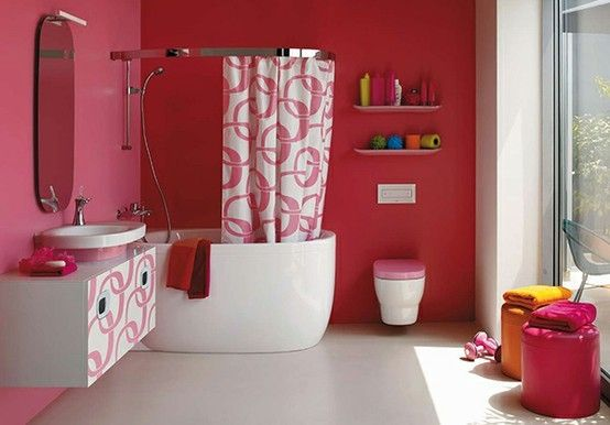 Pink Bathroom Interior, Fuschia Bathroom Accessories
