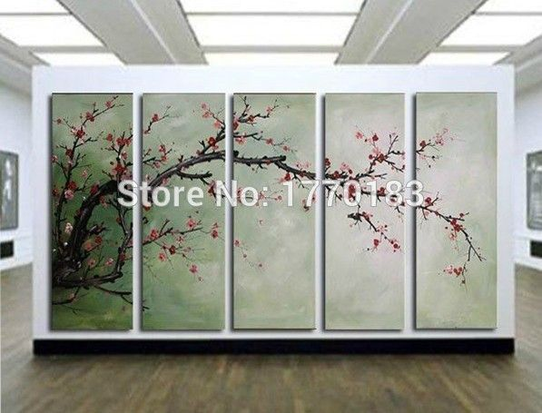 The Cherry Blossoms 5 Panels Handmade Huge Chinese Decorative Flower Oil Painting On Canvas Wall A Flower Painting Canvas Canvas Art Wall Decor Canvas Wall Art